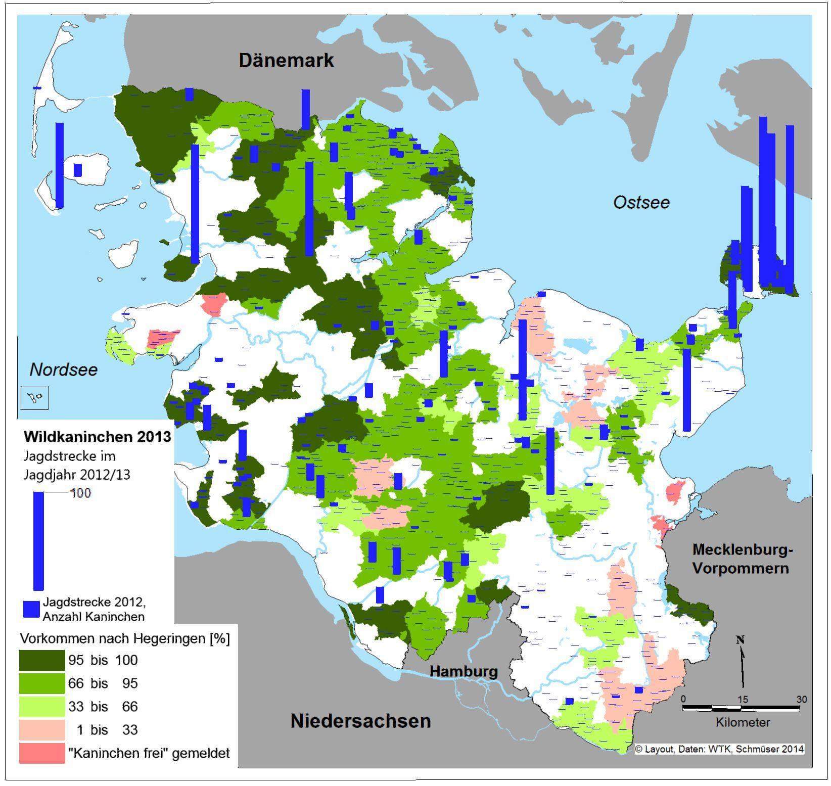 Abbildung 2: Lokalisation und Ergebnis der Bejagung (Jagdjahr 2012/13) und Vorkommen nach relativer Dichte der Kaninchen 2013